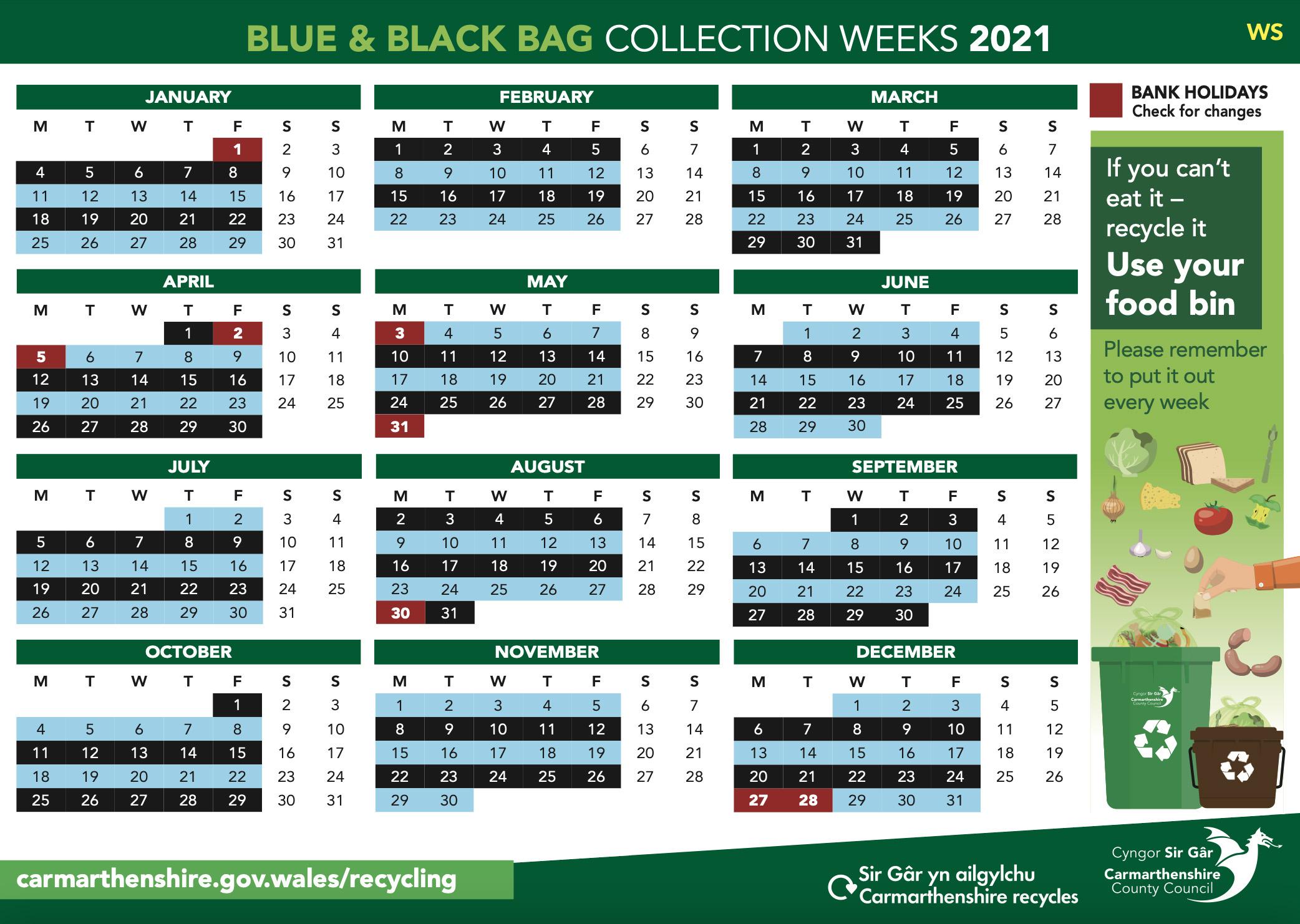 Blue and black bag collection 2021 Llanarthne